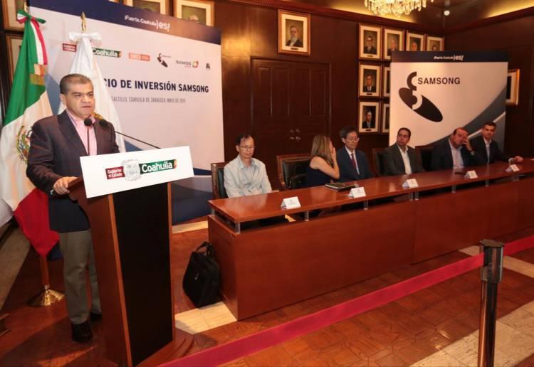 Anuncia gobernador llegada de la empresa coreana Samsung a Coahuila