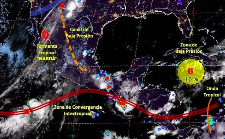 Tormenta Narda avanza hacia Sonora
